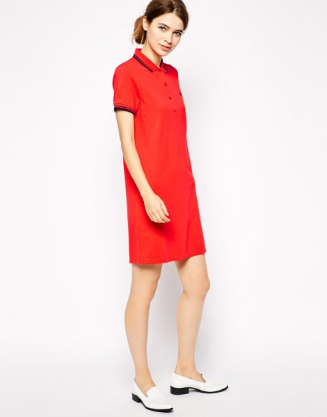 red polo shirt dress white slipper outfit