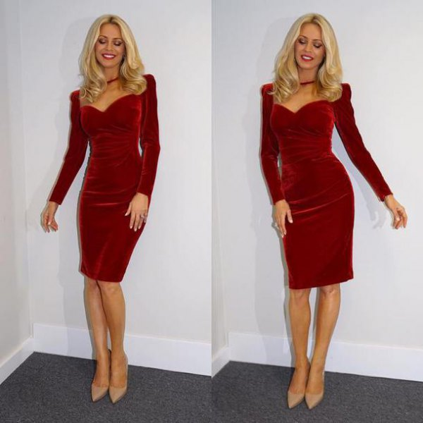 long-sleeved, figure-hugging dress with red puffed shoulder