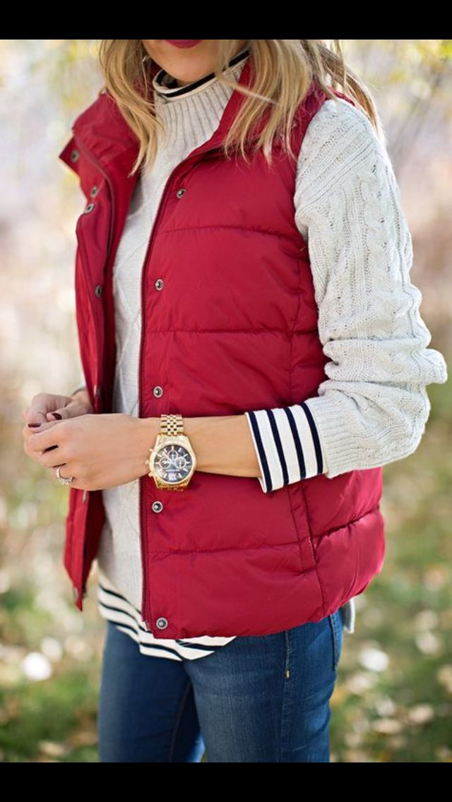 red quilted vest over knitted sweater