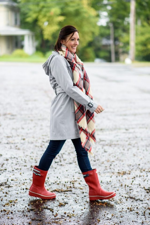 red rain boots with gray coat