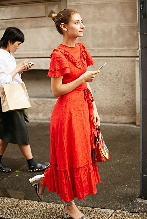 Maxi dress with red ruffles