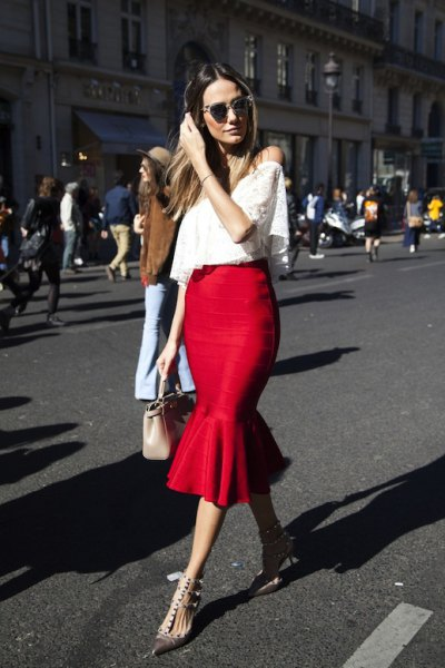 red ruffle skirt white strapless lace top