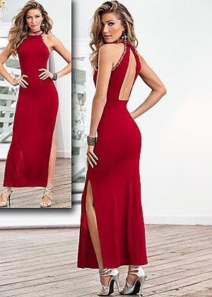 Backless maxi dress made of red satin, silver strappy sandals
