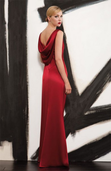 red satin maxi dress with low back