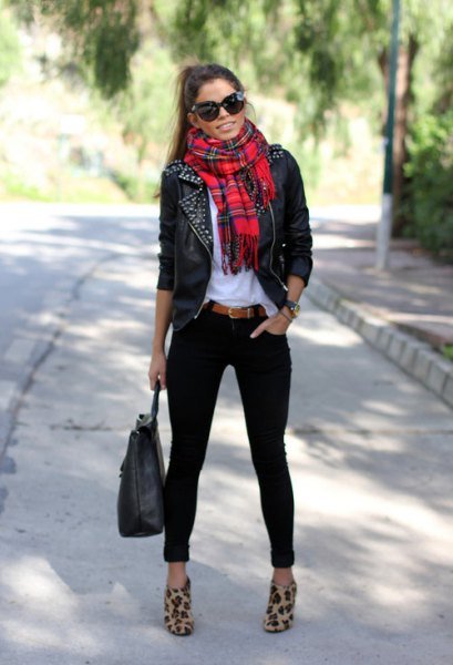 red scarf black leather jacket silver sequin details