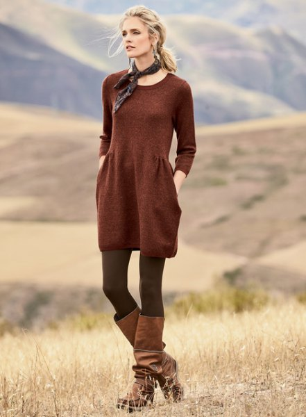 Red cotton tunic with scoop neckline and gathered waist with stockings and boots