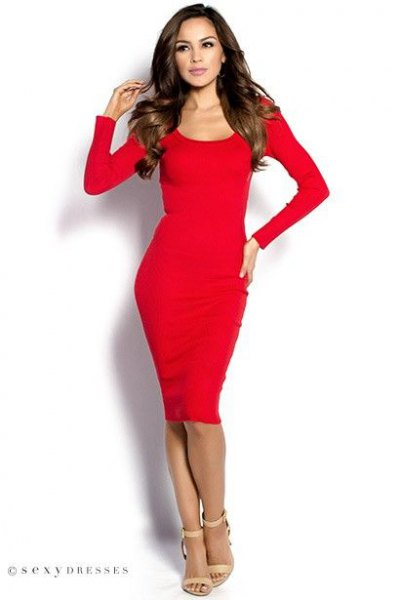 red, long-sleeved, figure-hugging midi dress with scoop neckline and ankle straps