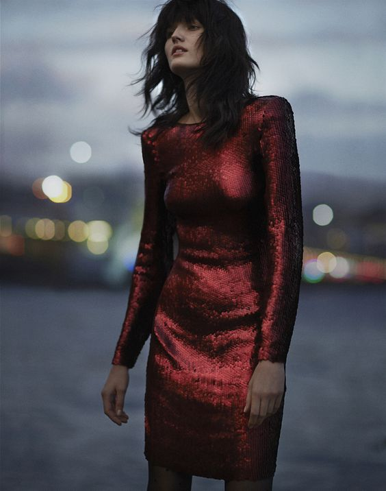 red sequin dress classic long-sleeved