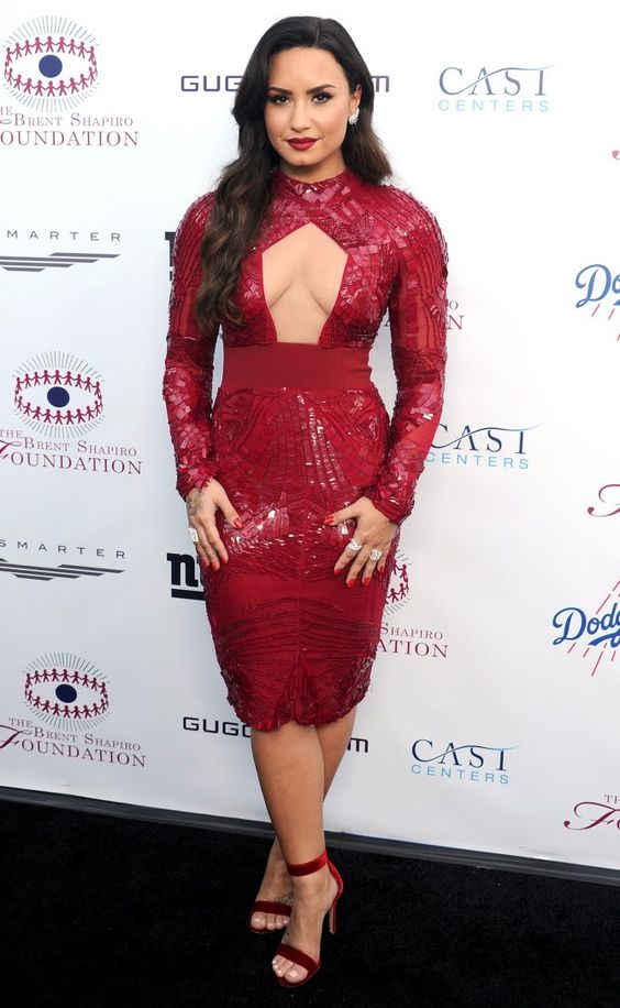 cut out red sequin dress