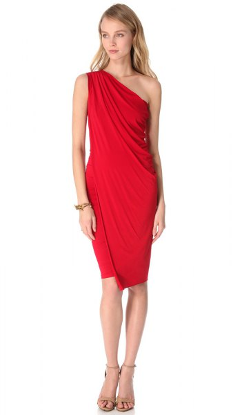 red leather a strapless knee length dress
