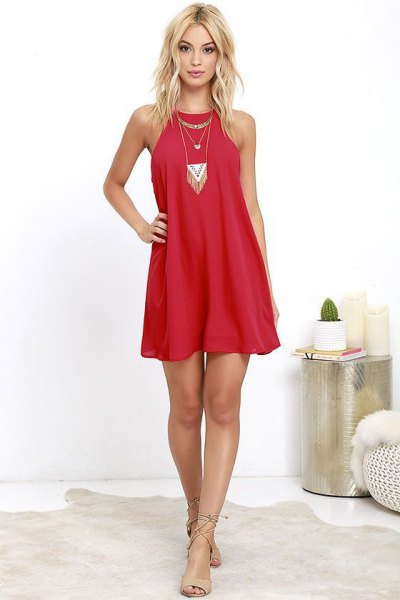 red sheath dress in boho style