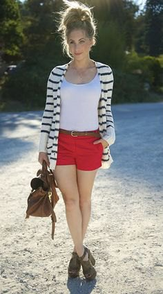 red shorts with white and black striped cardigan