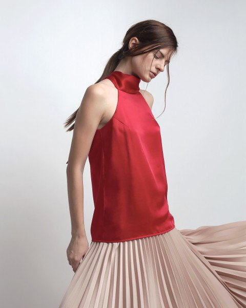 red silk top light pink pleated dress