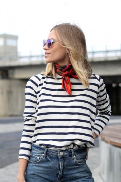 red thin scarf black and white striped t-shirt