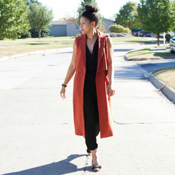 red sleeveless longline blazer as a vest with black parts