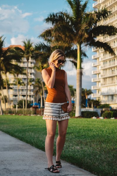 red sleeveless top gray and white striped tassel shorts