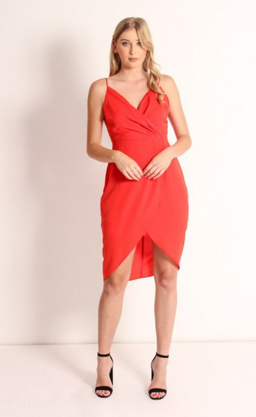 red tulip dress with spaghetti strap and sweetheart neckline