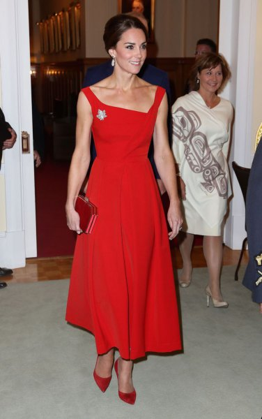 Red, square fit and flared maxi dress with matching suede heels