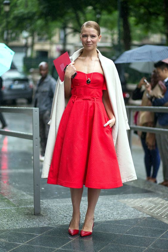 red strapless dress beige coat