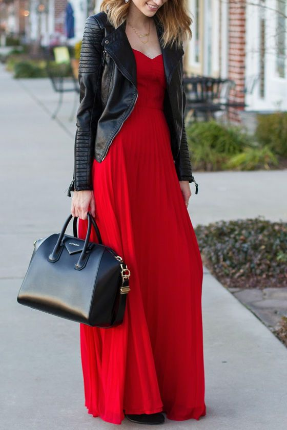red strapless leather jacket