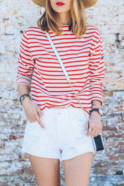 red striped t-shirt white mini shorts