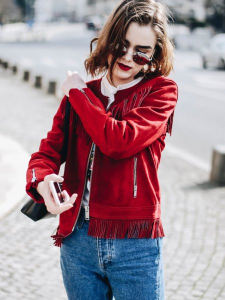 red suede fringed jacket mother jeans
