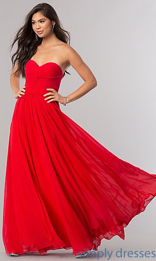 red sweetheart neckline flared evening dress