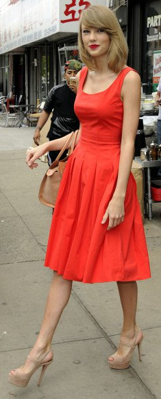 red tank fit and flared knee-length pleated dress