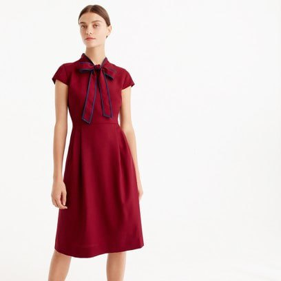 red wool dress with necktie and cap sleeves