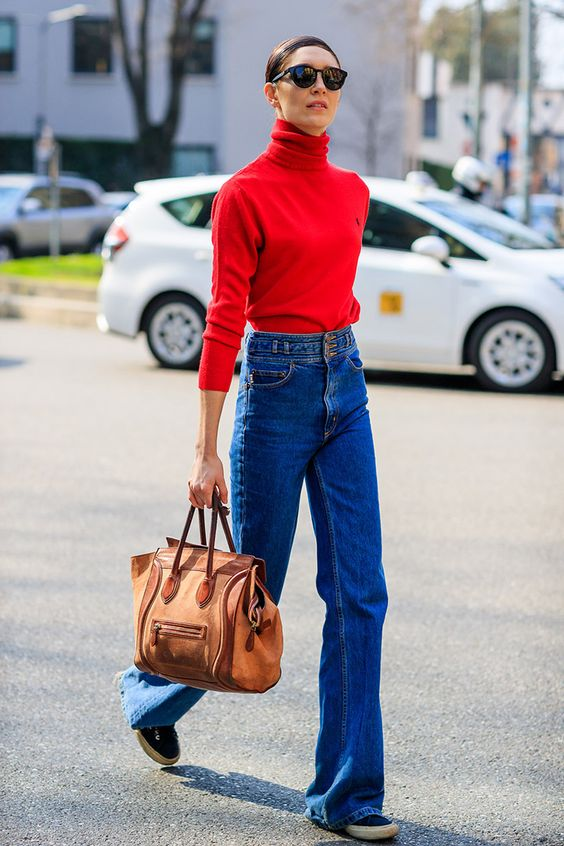 red turtleneck with a bell bottom
