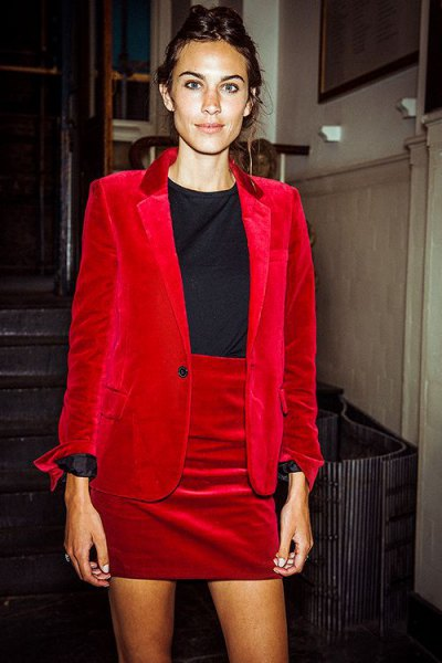 red velvet suit jacket with matching high-waisted mini skirt