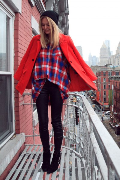 red wool coat with dark blue and orange checked shirt