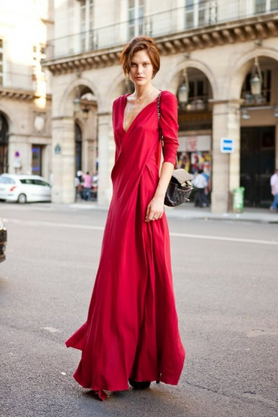 red wrap maxi dress outfit