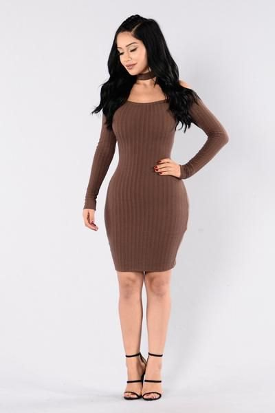 ribbed brown bodycon mini sweater dress