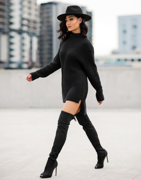 ribbed, chunky mini sweater dress with a felt hat and long boots
