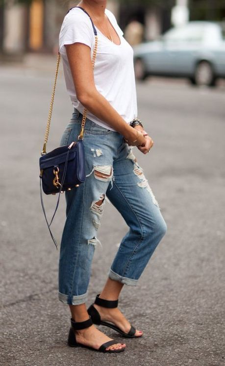 Blue Boyfriend Jeans I just adore this pair of ripped,,distressed .