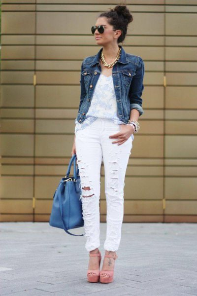 ripped jeans white denim jacket