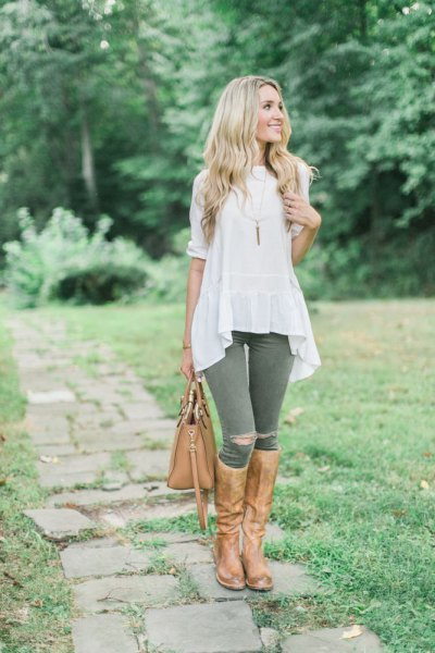 torn breeches white airy top