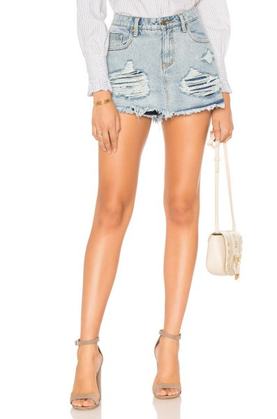 ripped skort with white button up shirt