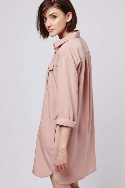 oversized pink shirt dress with rolled sleeves