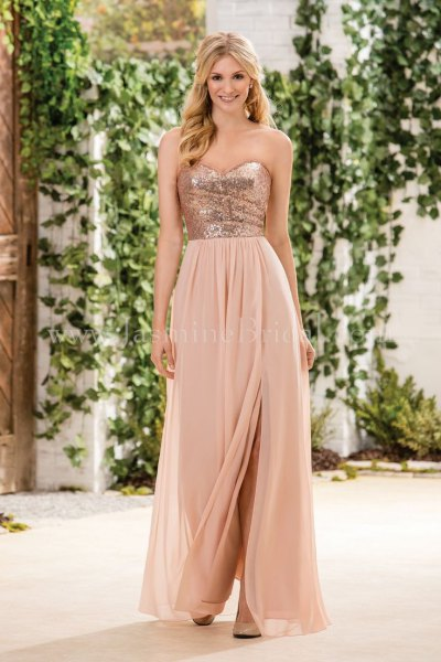 Rose gold and blush pink two-tone dress