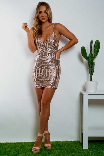 Bodycon dress with deep V-neck made of rose gold and white sequins