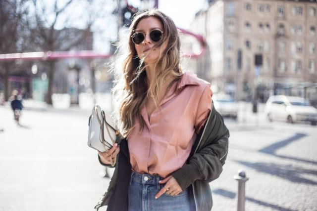 rose gold satin shirt with buttons and green bomber jacket