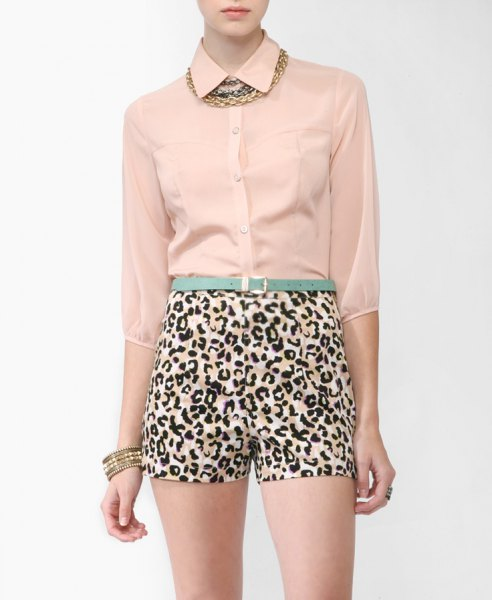 Rose gold chiffon blouse with high-waisted mini shorts with leopard print