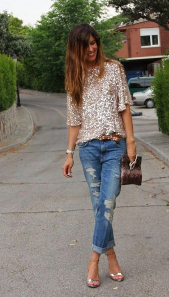 rose gold sequin shirt with half sleeves and ripped jeans with cuffs