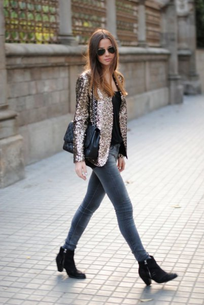 Rose gold sequin blazer jacket with gray skinny jeans
