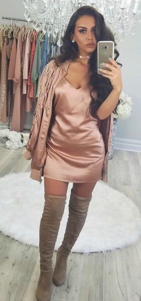 rose gold silk skirt with deep V-neckline and matching jacket