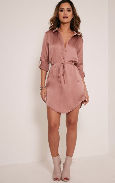 Rose gold silk mini shirt dress with belt