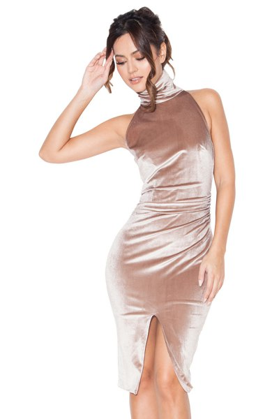 Rose gold turtleneck sleeveless, figure-hugging velvet dress