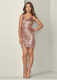 Rose gold cocktail slip dress with V-neck and light pink open toe heels